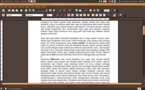 Tampilan OpenOffice pada Ubuntu 8.10